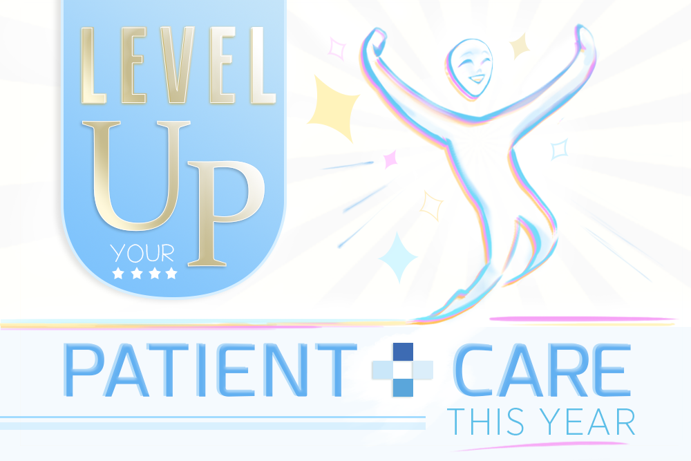 Graphic showing a sketch of a person jumping/celebrating and the text: Level Up your patient care this year