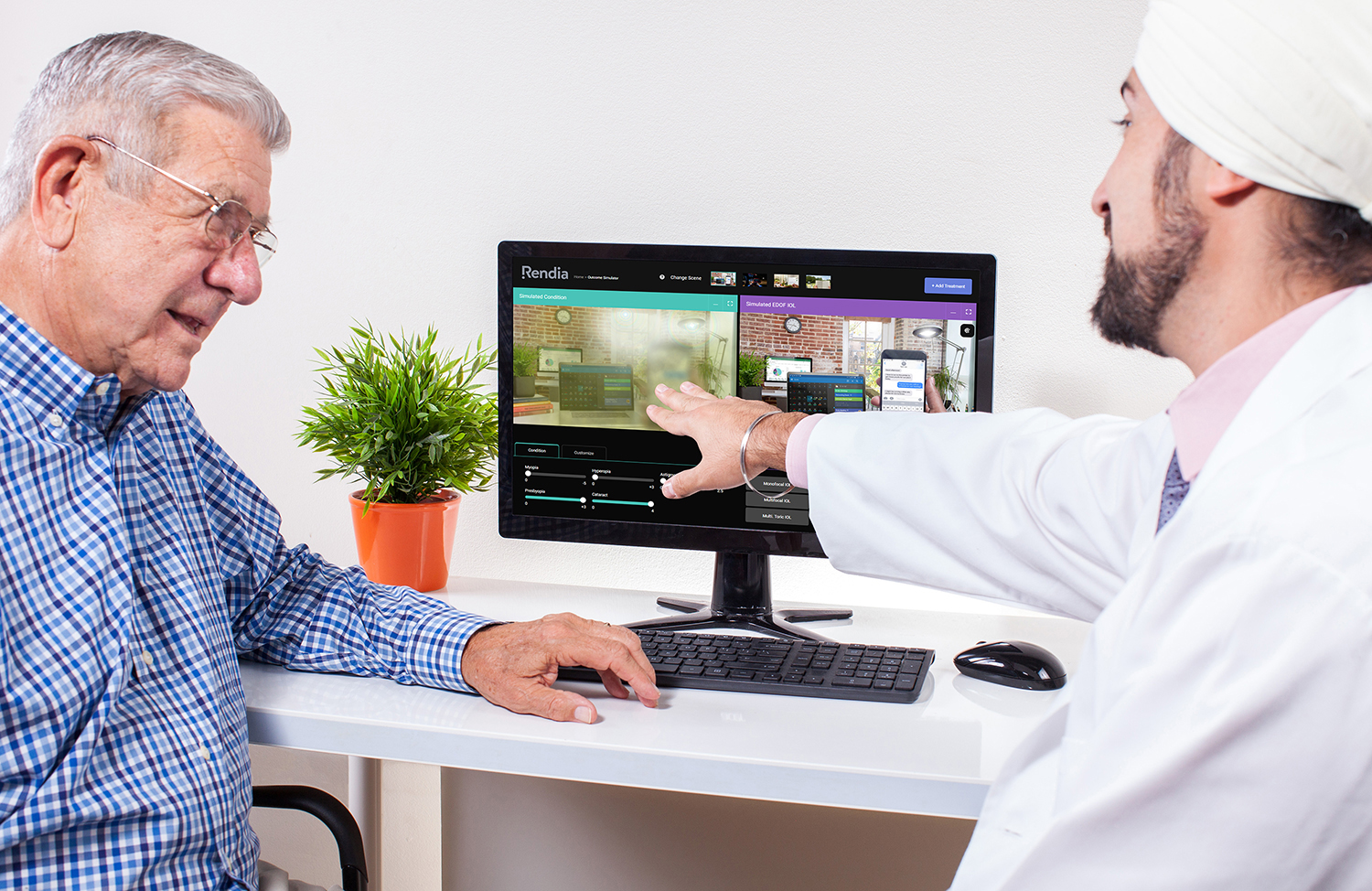 Cataract surgeon speaks with patient and uses the Outcome Simulator tool to show how the treatment will affect his vision