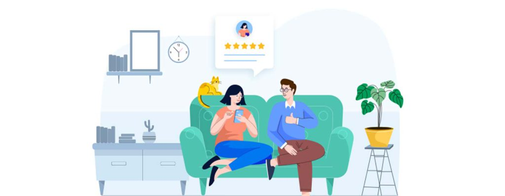 illustration couple on couch